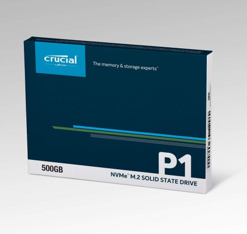 Crucial CT500P1SSD8 packaging front view.