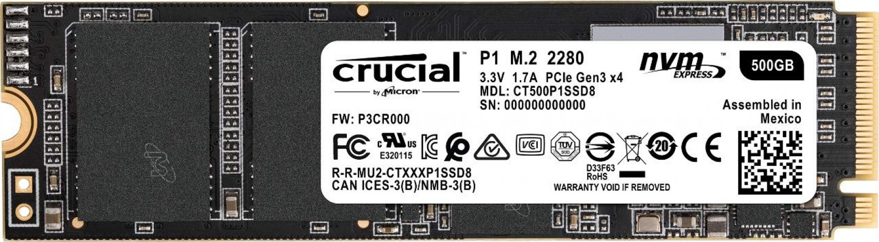 Image of the Crucial CT500P1SSD8 NVMe SSD