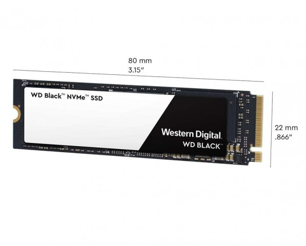 Image with dimensions for the Western Digital WDS500G2X0C NVMe SSD.