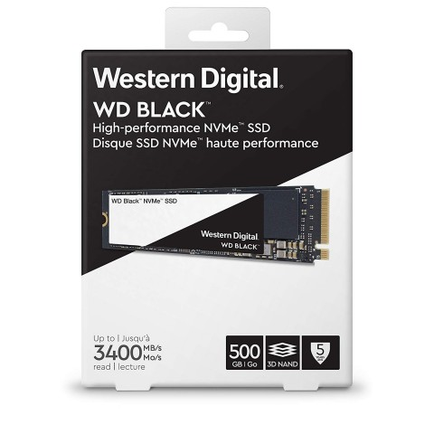 A view of the retail packaging for the Western Digital WDS500G2X0C NVMe SSD.