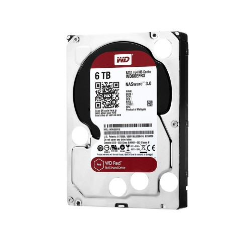 Front left tilt view of the Western Digital WD60EFRX 6TB Red Hard Drive