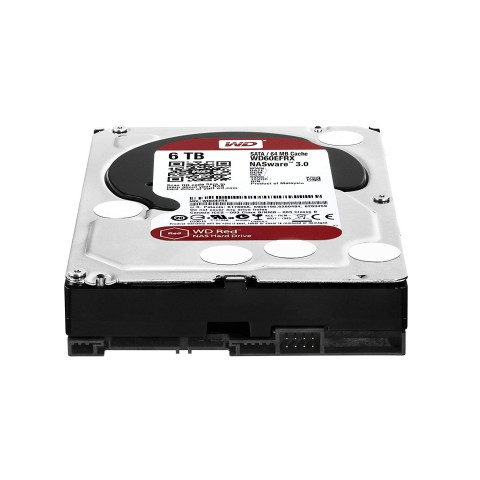 Western Digital WD60EFRX 6TB Red Hard Drive laying down view.