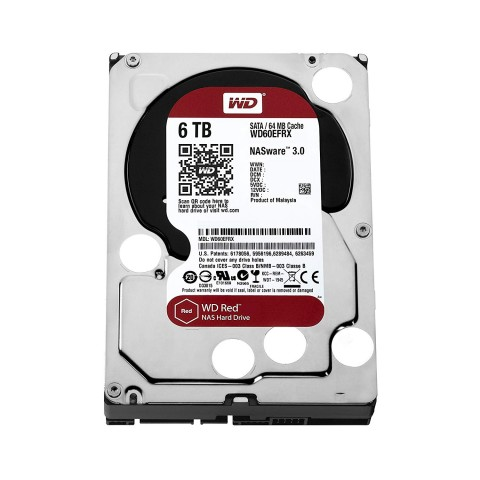 Front view of the Western Digital WD60EFRX 6TB Red Hard Drive