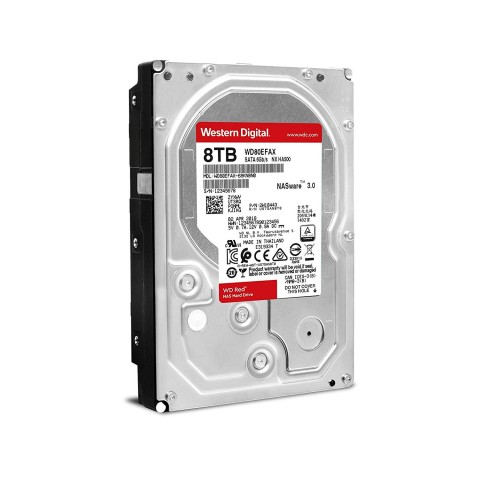 Perspective view of the Western Digital WD80EFAX 8TB Red Hard Drive.
