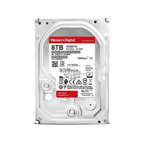 Front view of the Western Digital WD80EFAX 8TB Red Hard Drive.
