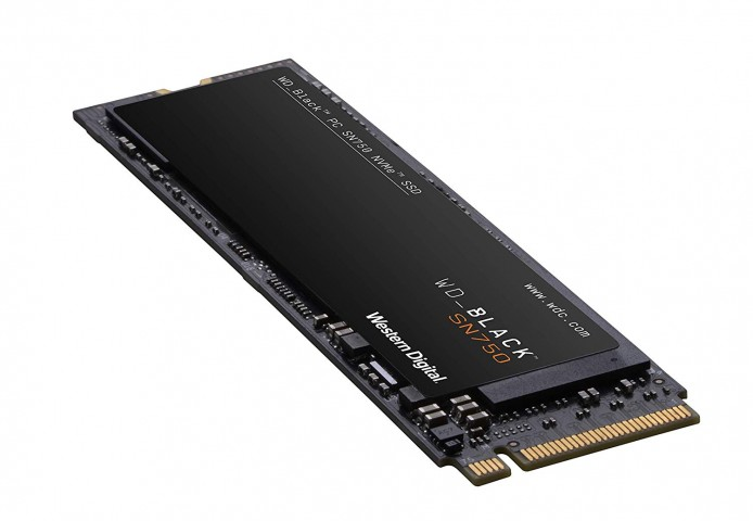 View looking at connectors of the Western Digital SN750 NVMe SSD