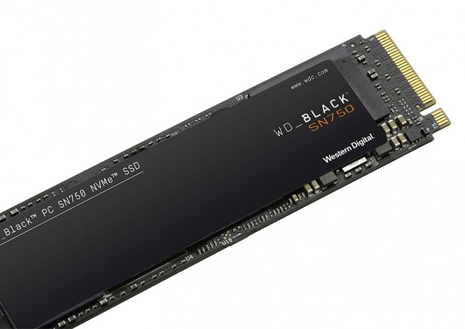 Western Digital SN750 NVMe SSD laying down.