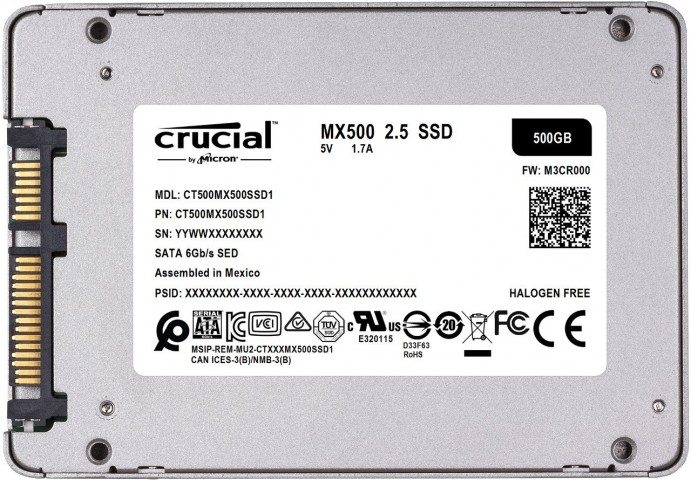 Bottom view of the Crucial MX500 SSD drive.