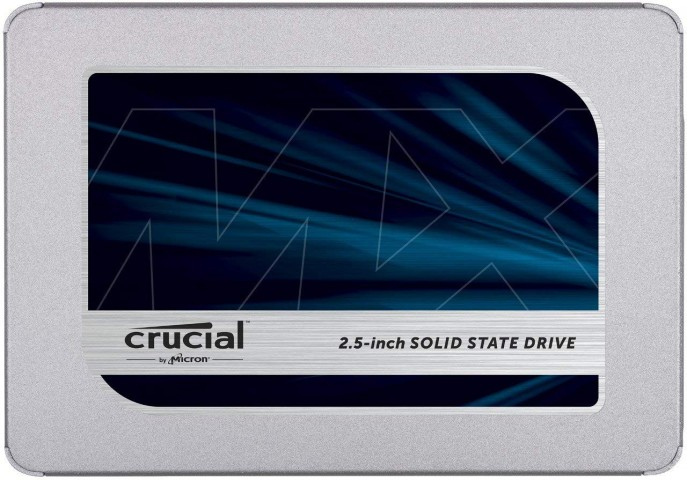 Front view of the Crucial MX500 SSD drive.