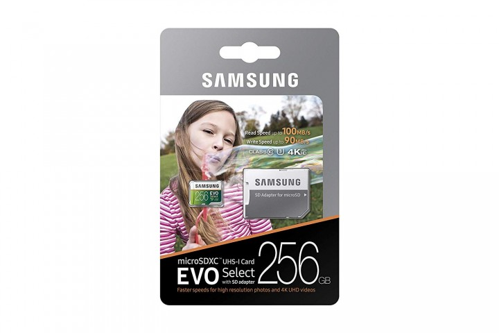 Retail packaging for the Samsung EVO Select Micro SD card.