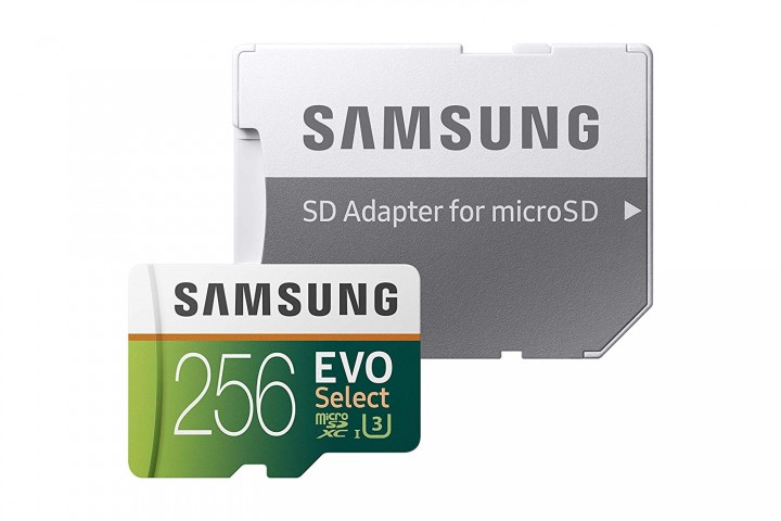 Product image of the Samsung MicroSDXC Evo Select memory card with included SD adapter.