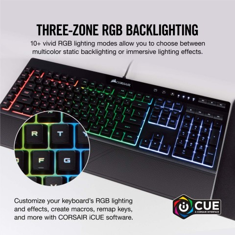 Close up of the RGB Zone backlighting on the K55