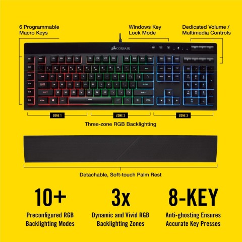Features card for the Corsair K55 Keyboard