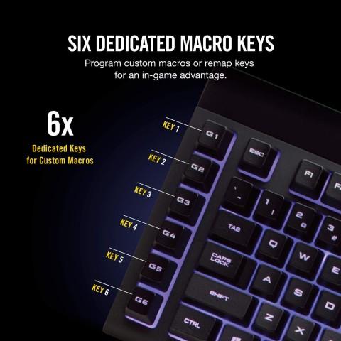 Close up of macro keys on the Corsair K55 keyboard