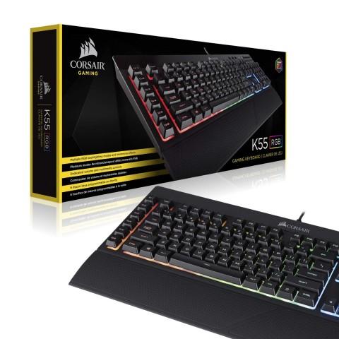 Beauty shot of the Corsair K55 RGB gaming keyboard.