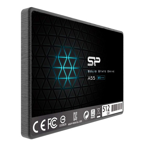 3/4 View of Silicon Power 512GB SSD model Front of Silicon Power 512GB SSD model SP512GBSS3A55S25