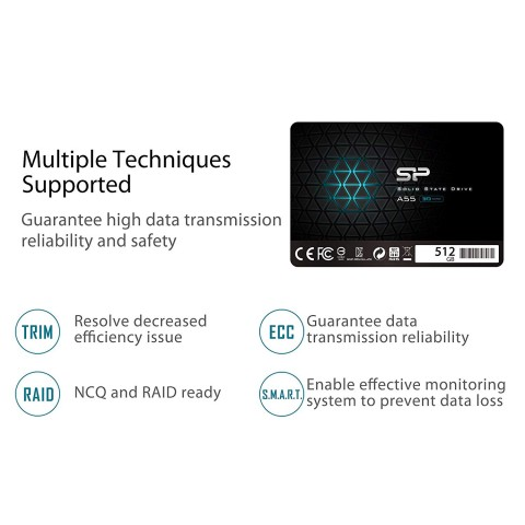 Silicon Power 512GB SSD model  SP512GBSS3A55S25 promo image.