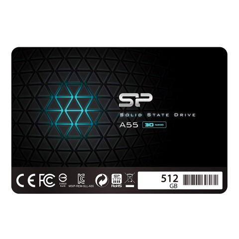 Front of Silicon Power 512GB SSD model SP512GBSS3A55S25