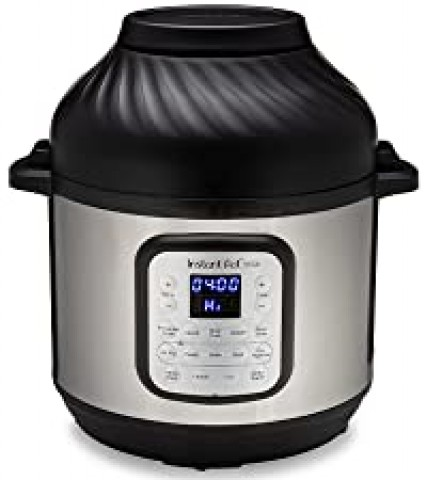 Instant pot duo crisp + air fryer with lid on.