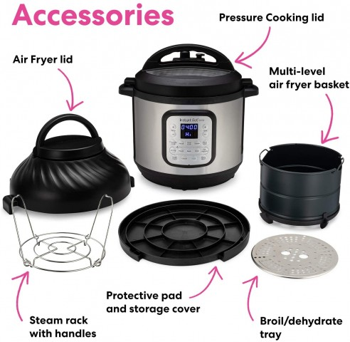 Pictures of the accessories and lids that come with the Instant Pot Duo Crisp.