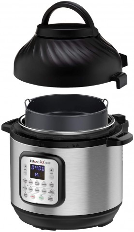 Picture of the front of the Instant Pot Duo Crisp with the air fryer lid hovering above it like a got damn UFO.